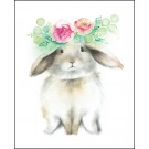 Affiche, Lapin couronne de fleurs, de l'artiste Katrinn Pelletier, dimension : 10 x 8 po de largeur