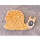 Aimant, # 49, Escargot clémentine, de l'artiste Créations Ratté, medium : céramique, décoration objet cuit à très haute température