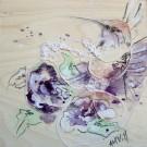 Alice, de l'artiste Anne-Marie Villeneuve, Tableau, Mediums mixtes, Création unique, dimension : 8 x 8 po de largeur