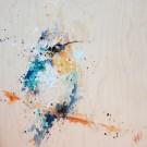 L'éclatant, de l'artiste Anne-Marie Villeneuve, Tableau, Acrylique et fils de coton sur bois, Création unique, dimension : 16 x 16 po de largeur