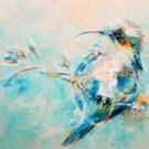 Le Placide, de l'artiste Anne-Marie Villeneuve, Tableau, Mediums mixtes, Création unique, dimension : 12 x 12 po de largeur