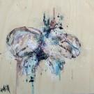 Si je disparaissais, de l'artiste Anne-Marie Villeneuve, Tableau, Acrylique et fils de coton sur bois, Création unique, dimension : 8 x 8 po de largeur