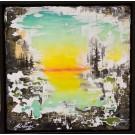 An opening (t.encadré), de l'artiste Andrée-Anne Laberge, Tableau, Encaustique sur bois, Création unique, dimension : 12 x 12 po de largeur