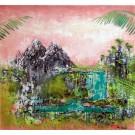 La parfaite illusion, de l'artiste Andrée-Anne Laberge, Tableau, Encaustique sur bois et peinture en aérosol, Création unique, dimension : 30 x 30 po de largeur