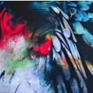 """Vol au dessus d'un nid de coucou, de l'artiste Marie Chantal Le Breton, Collection """"De nature hypothétique"""", Tableau, Acrylique sur bois, Création unique, dimension : 20 x 20 po de largeur"""