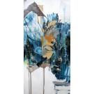 Asclépiade, de l'artiste Sandy Cunningham, Tableau, Acrylique sur toile, Création unique, dimension : 24 x 12 po de largeur