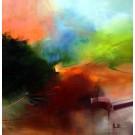 Carte de souhaits 5x5, Aurore sans repos, de l'artiste Sophie Ouellet, dimension : 5 x 5 pouces largeur, sans texte, avec enveloppe, Vous pouvez inscrire votre message à l'intérieur, Carte vendue à l'unité