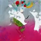 Carte de souhaits 5x5, Bal mesure, de l'artiste Marie Chantal Le Breton, dimension : 5 x 5 pouces largeur, sans texte, avec enveloppe  Vous pouvez inscrire votre message à l'intérieur.  Carte vendue à l'unité