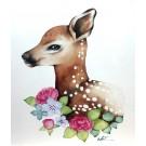 Affiche, Bambi fleuri, de l'artiste Katrinn Pelletier, dimension : 10 x 8 po de largeur