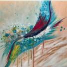 Bird of paradise, de l'artiste Marie-Pier Sanfaçon, Tableau, Techniques mixtes sur bois, Création unique, dimension 24 x 24 po de largeur