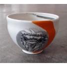 Bol autruche, no 38, de l'artiste Nancy Lavigueur, en semi-porcelaine, dimension : circonférence 15.5 po, diamètre 6 po, hauteur 6 po, pièce vendue à l'unité