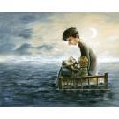 Carte de souhaits 5x7, Bonne nuit, de l'artiste Félix Girard, dimension : 5 x 7 pouces largeur, sans texte, avec enveloppe, Vous pouvez inscrire votre message à l'intérieur, Carte vendue à l'unité