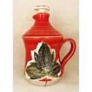 Bouteille à sirop, # 18, rouge, de l'artiste Créations Ratté, medium : céramique, objet utilitaire cuit à très haute température, résistant au four, au micro-onde et au lave-vaisselle