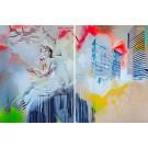 Calcutta mon amour (diptyque), de l'artiste Marie Chantal Le Breton, Tableau, Acrylique et crayon sur bois, format total de l'oeuvre : 40 x 60 pouces de largeur