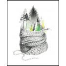 Carte de souhaits 4x5 po, Forêt, de l'artiste Katrinn Pelletier, dimension : 4.25 x 5.5 pouces largeur, sans texte, avec enveloppe  Vous pouvez inscrire votre message à l'intérieur.  Carte vendue à l'unité
