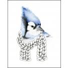 Carte de souhaits 4x5 po, Geai bleu, de l'artiste Katrinn Pelletier, dimension : 4.25 x 5.5 pouces largeur, sans texte, avec enveloppe  Vous pouvez inscrire votre message à l'intérieur.  Carte vendue à l'unité