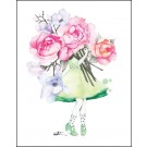 Carte de souhaits 4x5 po, Fleuriste Pivoines-Marguerites, de l'artiste Katrinn Pelletier, dimension : 4.25 x 5.5 pouces largeur, sans texte, avec enveloppe  Vous pouvez inscrire votre message à l'intérieur.  Carte vendue à l'unité