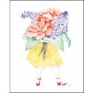 Carte de souhaits 4x5 po, Fleuriste, Roses Lilas, de l'artiste Katrinn Pelletier, dimension : 4.25 x 5.5 pouces largeur, sans texte, avec enveloppe  Vous pouvez inscrire votre message à l'intérieur.  Carte vendue à l'unité