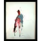 Chamane risqué (o.encadrée), de l'artiste Benoit Genest Rouillier, Oeuvre sur papier, Acrylique, encre de Chine, pastel sec et graphite, Création unique, dimension : 13.75 po x 10.5 po de largeur