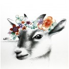 Affiche, Chèvre couronnée, de l'artiste Katrinn Pelletier, dimension : 10 x 8 po de largeur