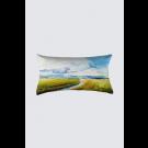 Coussin Bastien, rectangle long, modèle 'Lumière du Bas St-Laurent', Ni Vu Ni Cornu, Auteure Annie Lévesque, artiste, Art portable, Imprimé des deux côtés (recto-verso), Fait au Canada, dimension : 12po x 23po