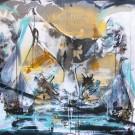 Les Dames d'eau, de l'artiste Sandy Cunningham, *Série : Mythologie, Tableau, Techniques mixtes sur toile, Création unique, dimension : 48 x 48 po de largeur