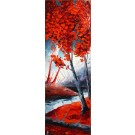 Dans la brume d'un sous bois, de l'artiste Jean-Simon Bégin, Tableau, huile, dimension : 48 x 16 pouces de largeur