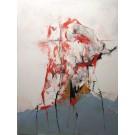 Décollage des syllabes, de l'artiste Benoit Genest Rouillier, Tableau, Acrylique et collage sur toile, Création unique, dimension : 48 x 36 po de largeur