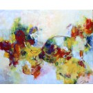 Destination lointaine, de l'artiste Marie-Claire Plante, Tableau, Techniques mixtes, acrylique, encre, pigments secs, fusain, pastel, crayon, Création unique, dimension 48 x 60 pouces de largeur