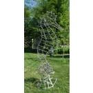 El Padre (hyppocampe), de l'artiste Mathieu Isabelle , Sculpture, acier inoxydable poli à la bille de verre, dimensions : 9 pieds x 49 po x 35 po