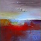 En suspens, de l'artiste Sophie Ouellet, Tableau, Acrylique sur toile cartonnée, Création unique, dimension : 12 x 12 po de largeur