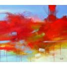 Entre deux grains de sable, de l'artiste Sophie Ouellet, Tableau, acrylique sur toile, dimension : 30 x 36 pouces de largeur