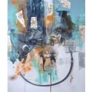 Équinoxe de printemps, de l'artiste Sandy Cunningham, Tableau, Techniques mixtes sur toile, Création unique, dimension : 48 x 40 po de largeur
