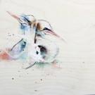Être bien ensemble, de l'artiste Anne-Marie Villeneuve, Tableau, Mediums mixtes sur panneau de bois galerie, Création unique, dimension : 12 x 12 po de largeur