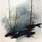Foresta Nebi-a, de l'artiste Marie-Claude Bouchard, Tableau, Acrylique sur toile, Création unique, dimension 16 x 16 pouces de largeur