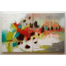 Fragments (diptyque), de l'artiste Kim Durocher, Tableau, Acrylique sur toile, format total de l'oeuvre : 20 x 32 pouces de largeur