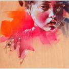 Carte de souhaits 5x5, Fruit défendu, de l'artiste Marie Chantal Le Breton, dimension : 5.5 x 5.5 pouces largeur, sans texte, avec enveloppe  Vous pouvez inscrire votre message à l'intérieur.  Carte vendue à l'unité