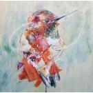 Hector, de l'artiste Anne-Marie Villeneuve, Tableau, Mediums mixtes sur panneau de bois galerie, Création unique, dimension : 16 x 16 po de largeur