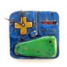 Horloge Klok Face bleue, K11, de l'artiste Alexandre Tardif, faite en bois, tilleul, format carré, dimension : 8 x 1 x 8 pouces de largeur, décoration fonctionnelle, 1 batterie 2A
