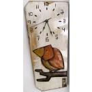 Horloge verticale, format moyen, hblv16-04, blanche, de l'artiste Alexandre Tardif, faite en bois, tilleul, format rectangulaire, fond blanc, dimension : 15.5 x 7.5 x 1 pouces de largeur, décoration fonctionnelle, 2 batteries 2A