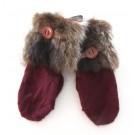 Moufle nanouk, no 4, de l'artiste Irèna Geerts, Création québécoise faite à la main. Conception éco-éthique. Modèle garni d'une finition de fourrure recyclée et de laine alpaga à 100 %.