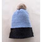 Tuque tissée, no 6, de l'artiste Irèna Geerts, Création québécoise faite à la main. Modèle garni d'un pompon de fourrure recyclée et de laine alpaga à 100 % %, vue A