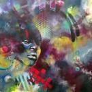 Carte de souhaits 5x5, In Spectro, de l'artiste Marie Chantal Le Breton, dimension : 5.5 x 5.5 pouces largeur, sans texte, avec enveloppe  Vous pouvez inscrire votre message à l'intérieur.  Carte vendue à l'unité