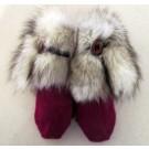 Moufle nanouk, no 7, de l'artiste Irèna Geerts, Création québécoise faite à la main. Modèle garni d'une finition de fourrure recyclée et de laine alpaga à 100 %.