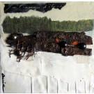 L'impression d'être ici, de l'artiste Anik Lachance, Tableau, Techniques mixtes, Collage, écorce, clous de finition, encaustique, Création unique, dimension : 6 x 6 po de largeur
