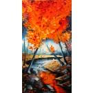 Jaune en reflet (t.encadré), de l'artiste Jean-Simon Bégin, Tableau, huile sur toile, dimension : 36 x 18 pouces de largeur