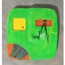 Horloge Klok, Face verte, 2 dents noires, de l'artiste Alexandre Tardif, dimension : 8 x 1 x 8 pouces de largeur, Décoration fonctionnelle, 2 batteries 2A, Bois : Tilleul ou pin