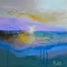L'orage d'hier, de l'artiste Sophie Ouellet, Tableau, acrylique sur toile cartonnée, Création unique, dimension : 12 x 12 po de largeur