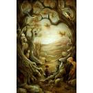 Carte de souhaits 7x5, L'orée de la forêt, de l'artiste Félix Girard, dimension : 7 x 5 pouces largeur, sans texte, avec enveloppe  Vous pouvez inscrire votre message à l'intérieur.  Carte vendue à l'unité