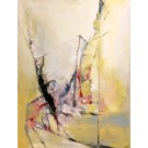 La bâtisse piégée, de l'artiste Benoit Genest Rouillier, Tableau, Acrylique sur toile, Création unique, dimension : 48 x 36 po de largeur